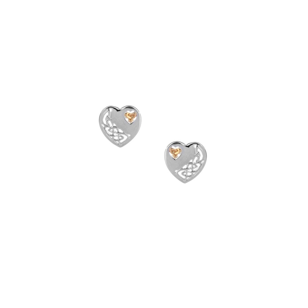 Keith Jack Sterling Silver and 10K Gold Celtic Heart Earrings - Fifth Avenue Jewellers