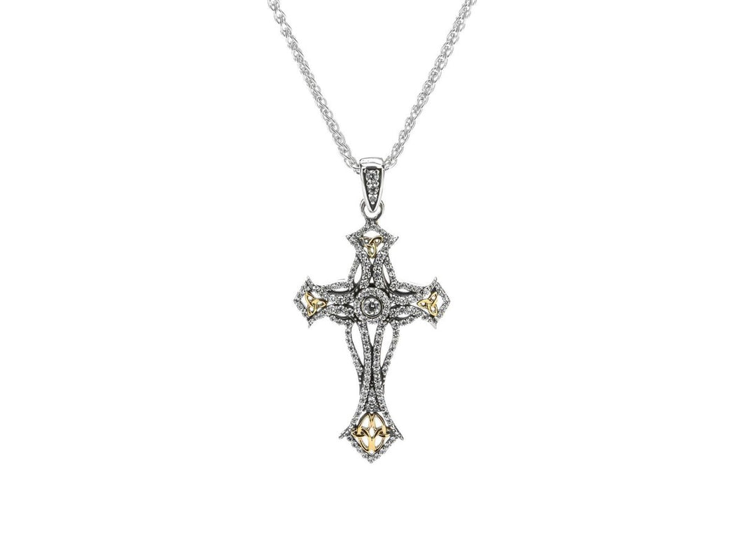 Keith Jack Sterling Silver and 10k Gold Cubic Zirconia Cross Pendant - Fifth Avenue Jewellers
