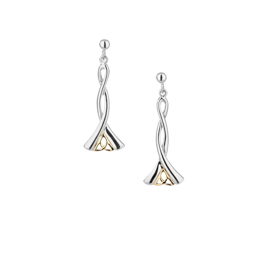 Keith Jack Sterling Silver and 10K Gold Trinity Dangle Earrings - Fifth Avenue Jewellers
