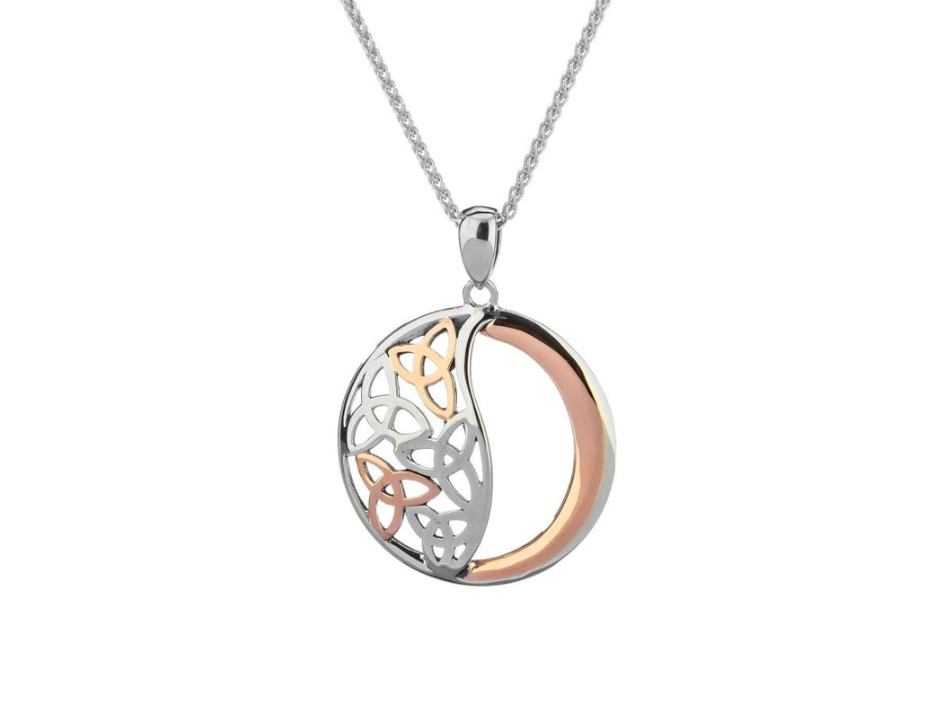 Keith Jack Sterling Silver and 10k Rose Gold Celtic Trinity Pendant - Fifth Avenue Jewellers