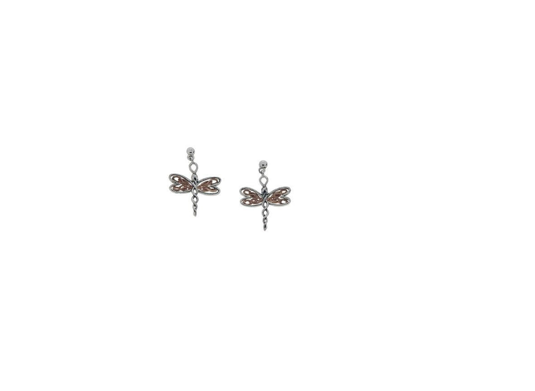 Keith Jack Sterling Silver and 10K Rose Gold Dragonfly Earrings - Fifth Avenue Jewellers