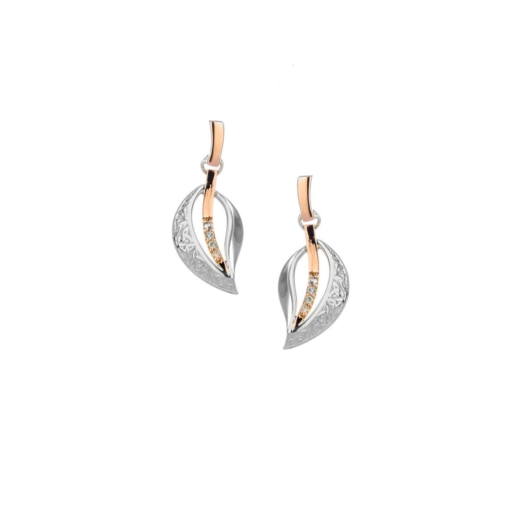 Keith Jack Sterling Silver and 10k Rose White Sapphire Trinity Leaf Earrings - Fifth Avenue Jewellers
