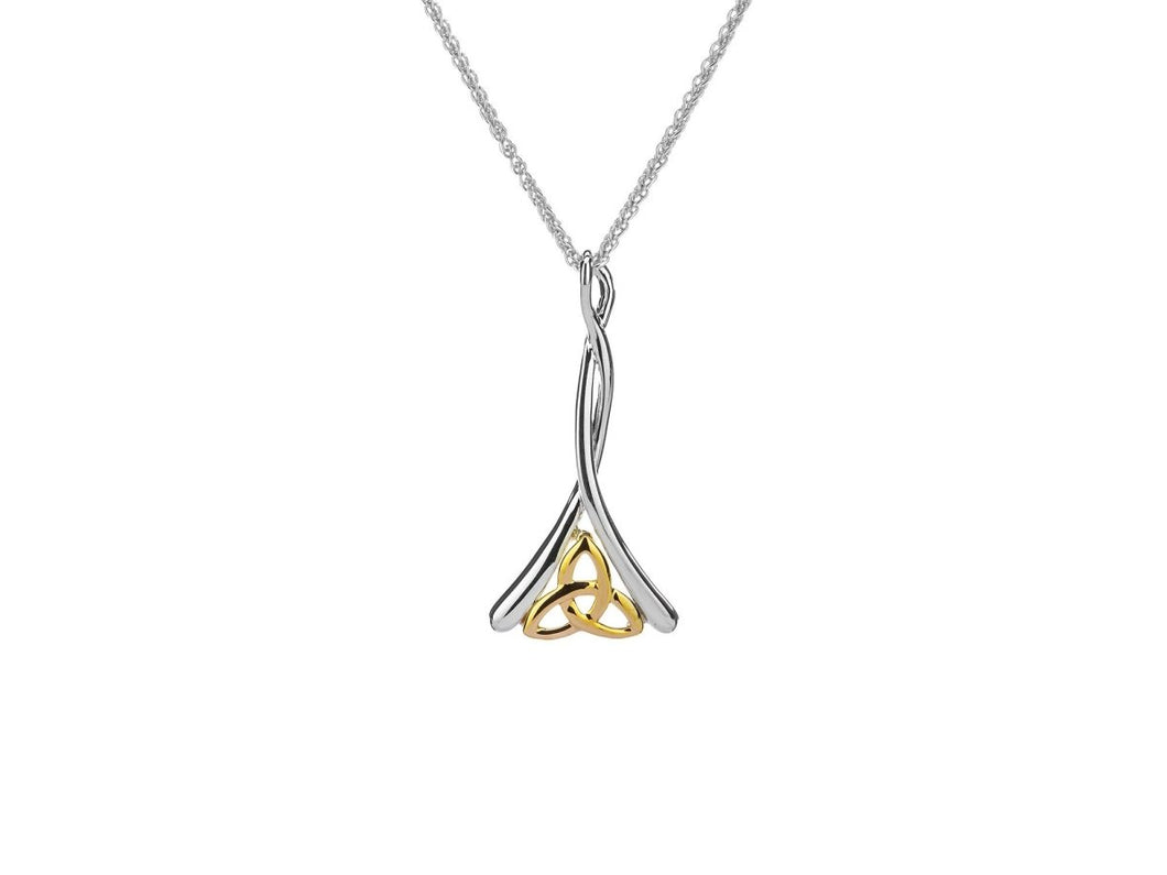 Keith Jack Sterling Silver and 10k Yellow Gold Celtic Trinity Pendant - Fifth Avenue Jewellers