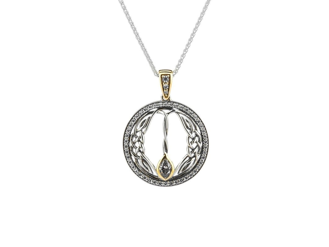 Keith Jack Sterling Silver and 10k Yellow Gold CZ Woven Round Gateway Pendant - Fifth Avenue Jewellers