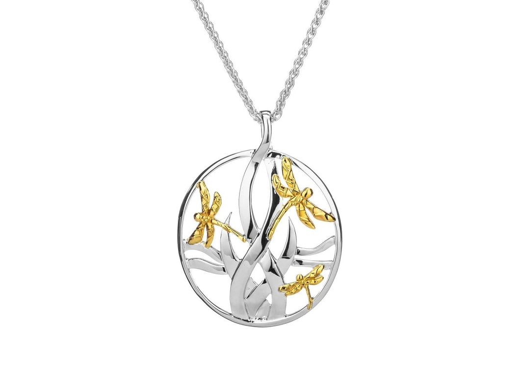 Keith Jack Sterling Silver and 10k Yellow Gold Dragonfly in Reeds Large Pendant - Fifth Avenue Jewellers