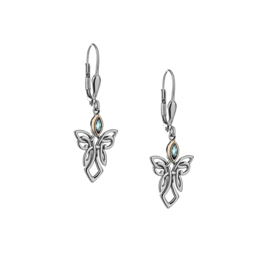 Keith Jack Sterling Silver and 10k yellow gold Sky Blue Topaz Guardian Angel Earrings - Fifth Avenue Jewellers