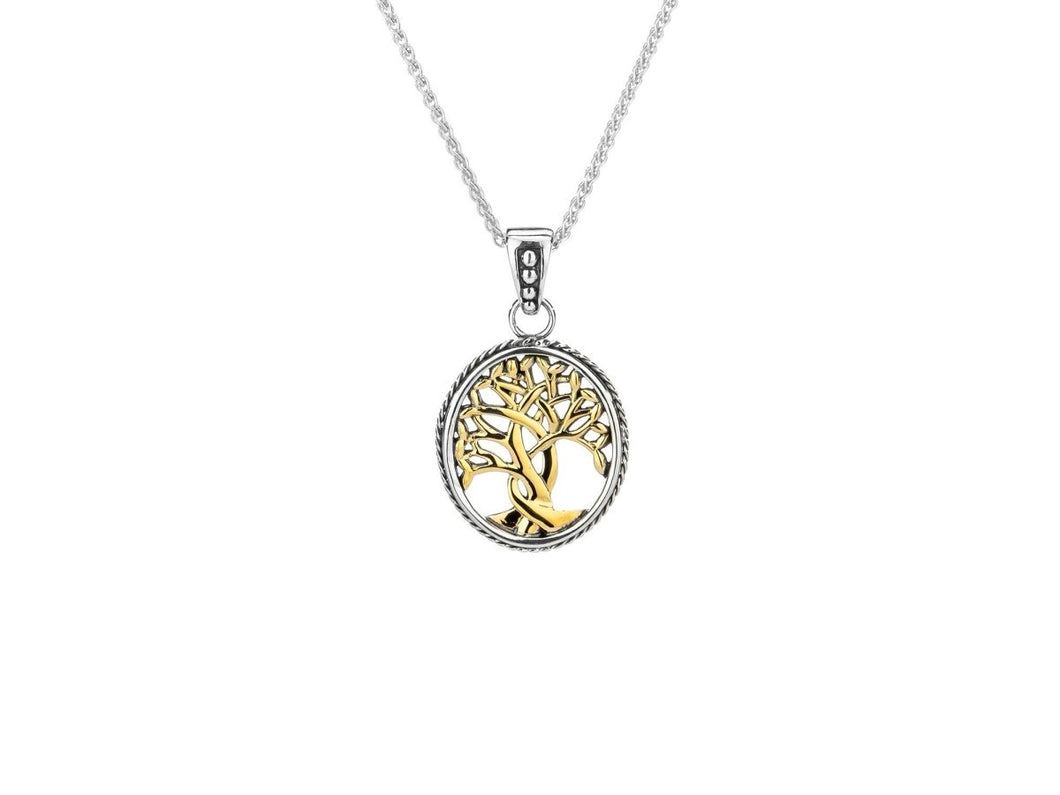 Keith Jack Sterling Silver and 10k Yellow Gold Tree of Life Small Pendant - Fifth Avenue Jewellers