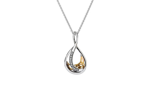 Keith Jack Sterling Silver and 10k Yellow Gold White Sapphire Trinity Teardrop Pendant - Fifth Avenue Jewellers