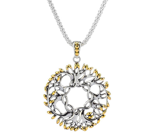Keith Jack Sterling Silver and 18k Yellow Gold Tree of Life Large Round Pendant - Fifth Avenue Jewellers