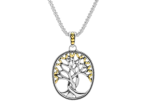 Keith Jack Sterling Silver and 18k Yellow Gold Tree of Life Pendant - Fifth Avenue Jewellers