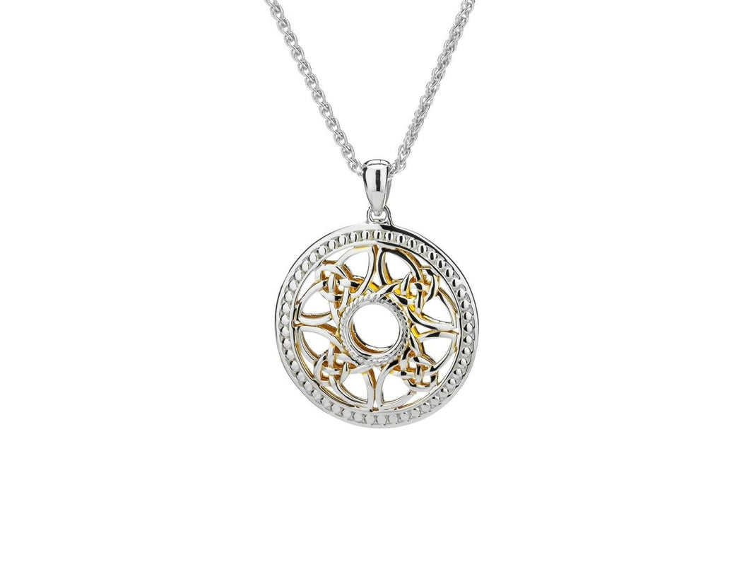 Keith Jack Sterling Silver and 22k Gilded Beaded Window to the Soul Round Pendant - Fifth Avenue Jewellers