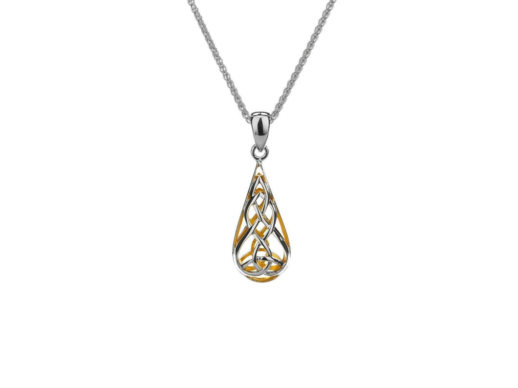 Keith Jack Sterling Silver and 22k Gilded Trinity Teardrop Pendant - Fifth Avenue Jewellers