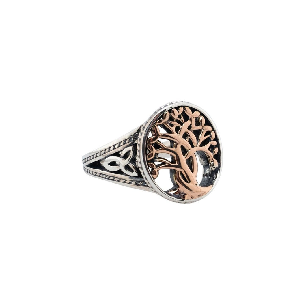 Keith Jack Sterling Silver And Rose Gold Tree Of Life Ring - Fifth Avenue Jewellers