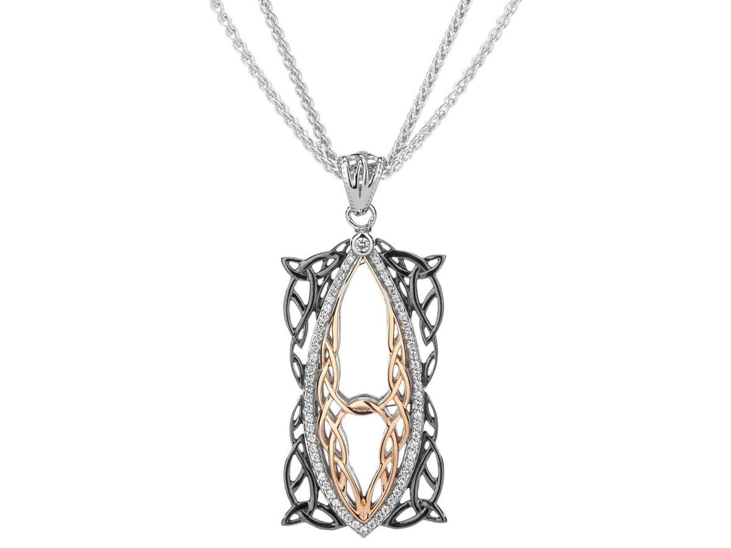 Keith Jack Sterling Silver Black Rhodium and 10k Rose Cubic Zirconia Gateway Pendant - Fifth Avenue Jewellers