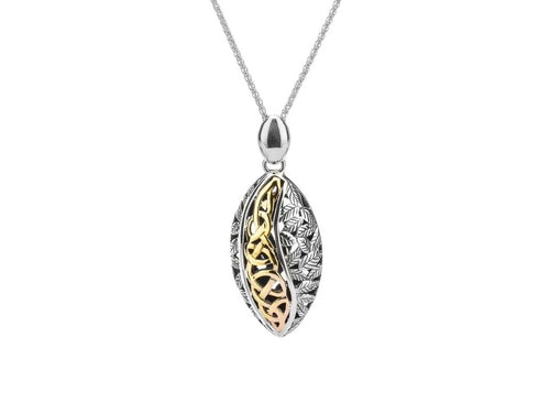 Keith Jack Sterling Silver Oxidized and 10k Gold Eternity Leaf Pendant - Fifth Avenue Jewellers