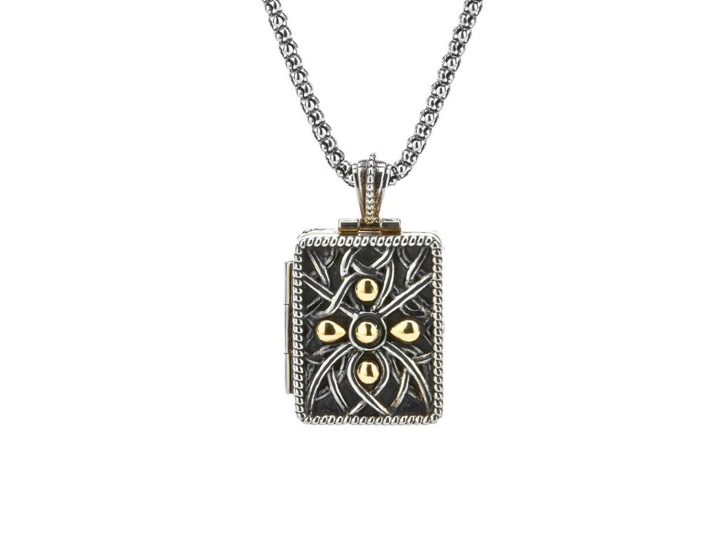 Keith Jack Sterling Silver Oxidized and 10k Gold with 22k Gilded Unisex Double Frame Reversible Locket - Fifth Avenue Jewellers