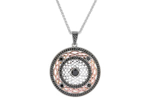 Keith Jack Sterling Silver Oxidized and 10k Rose Gold Cubic Zirconia Brave Heart Pendant - Fifth Avenue Jewellers