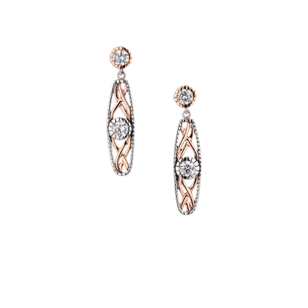 Keith Jack Sterling Silver Oxidized and 10k Rose Gold CZ Brave Heart Earrings - Fifth Avenue Jewellers