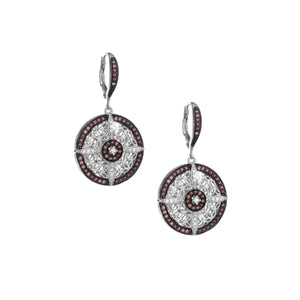 Keith Jack Sterling Silver Rhodium and Cubic Zirconia Night And Day Round Leverback Earrings - Fifth Avenue Jewellers