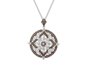 Keith Jack Sterling Silver Rhodium and Cubic Zirconia Night & Day Round Pendant (Reversible) - Fifth Avenue Jewellers
