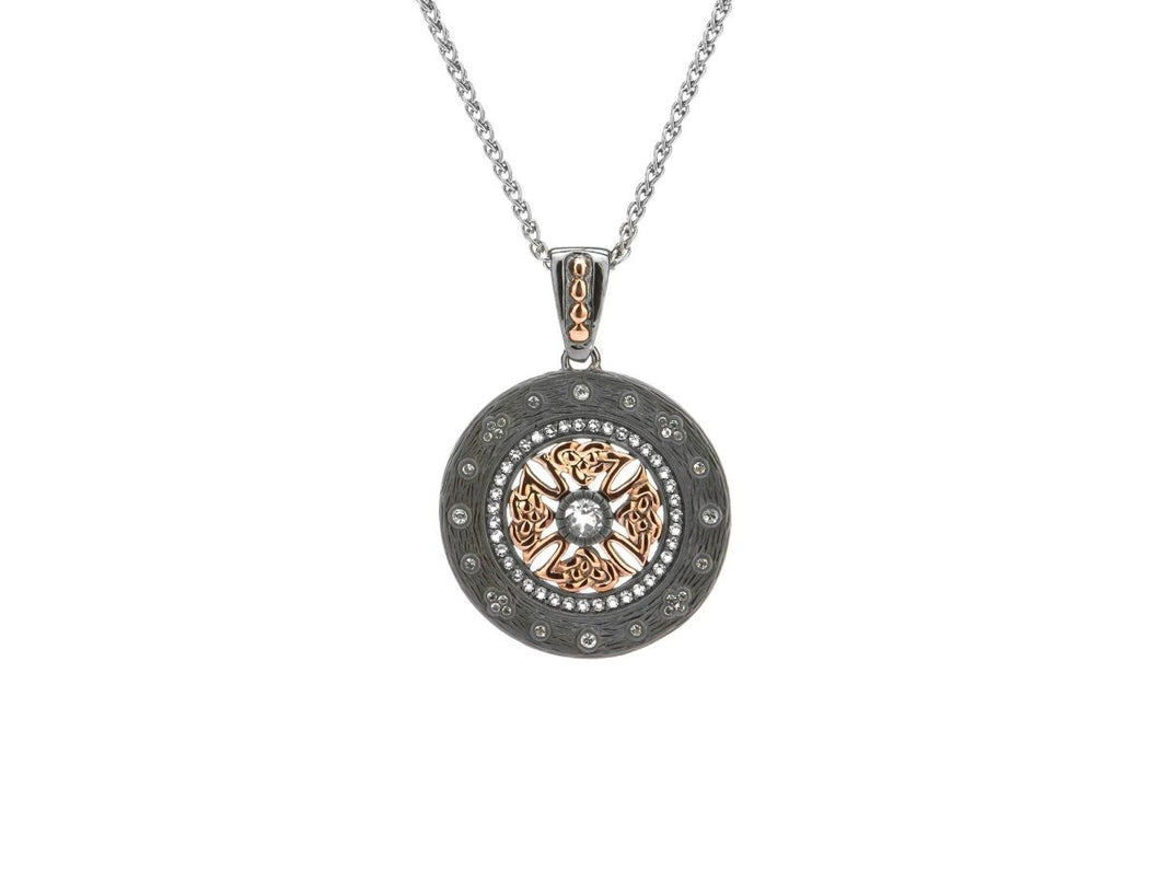 Keith Jack Sterling Silver Ruthenium and 10k Rose Gold White Topaz Brave Heart Tight Knot Pendant - Fifth Avenue Jewellers