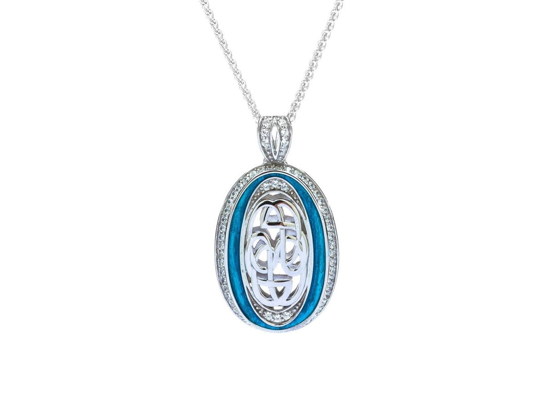 Keith Jack Sterling Silver Sky Blue Enamel Cubic Zirconia Path of Life Pendant - Fifth Avenue Jewellers