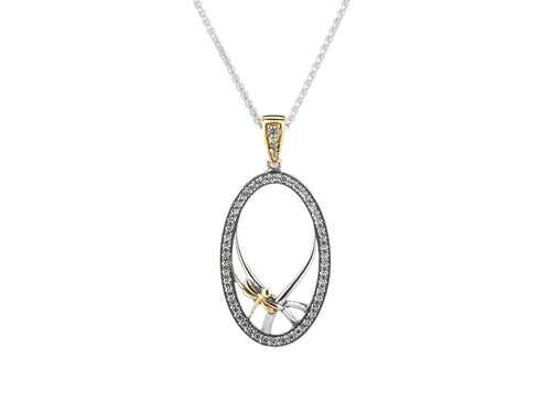 Keith Jack Sterling Silver with 10k Yellow Gold Dragonfly Gateway Pendant - Fifth Avenue Jewellers