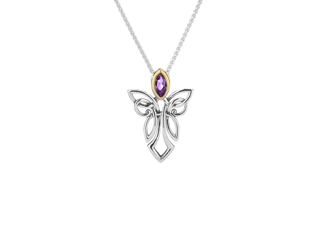 Keith Jack Sterling Silver with 10k Yellow Gold Guardian Angel Pendant - Fifth Avenue Jewellers