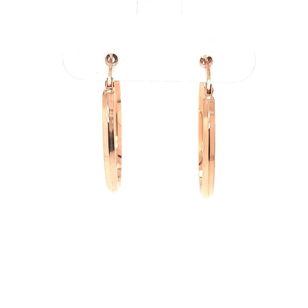 Knife Edge Rose Gold Hoops - Fifth Avenue Jewellers