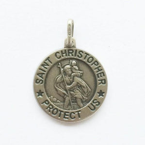 Large Matte Silver St Christopher Medal - Fifth Avenue Jewellers