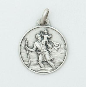 Large Round Silver St Christopher Medal - Fifth Avenue Jewellers