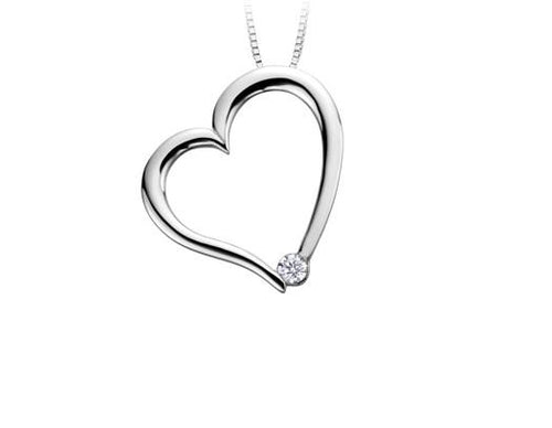 Leaning White Gold Heart - Fifth Avenue Jewellers