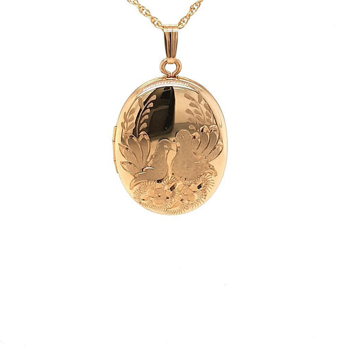 Lovebirds Locket In Yellow Gold - Fifth Avenue Jewellers