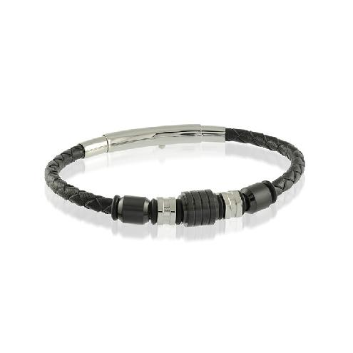 Mens Beaded Leather Bracelet SLB132 - Fifth Avenue Jewellers