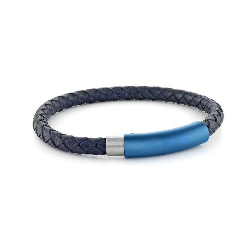 Mens Blue Leather Bracelet SLB196 - Fifth Avenue Jewellers
