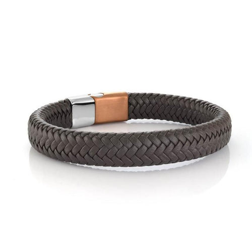 Mens Brown Leather Woven Bracelet SLB507 - Fifth Avenue Jewellers