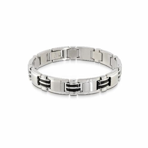 Mens Brushed Steel & Black Plated Bracelet SMB70 - Fifth Avenue Jewellers