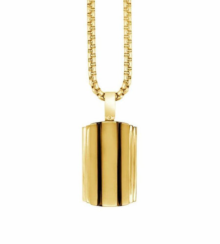Mens Gold And Black Dogtag Necklace SP256 - Fifth Avenue Jewellers