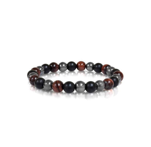 Mens Hematite And Tiger Eye Bracelet BB-11-M - Fifth Avenue Jewellers