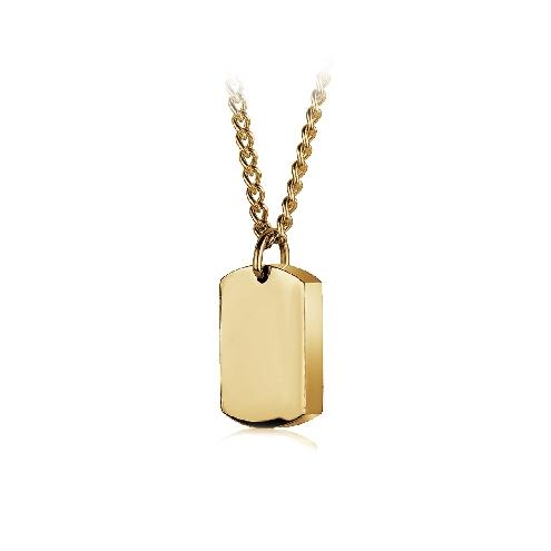 Mens Ion Plated Dog Tag Urn and Chain SU-3 - Fifth Avenue Jewellers