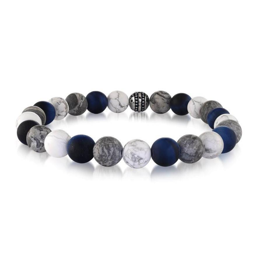 Mens Marble, Bronzite And Steel Bead Bracelet BB-177 - Fifth Avenue Jewellers