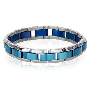 Mens Plated Blue Bracelet SMB216 - Fifth Avenue Jewellers