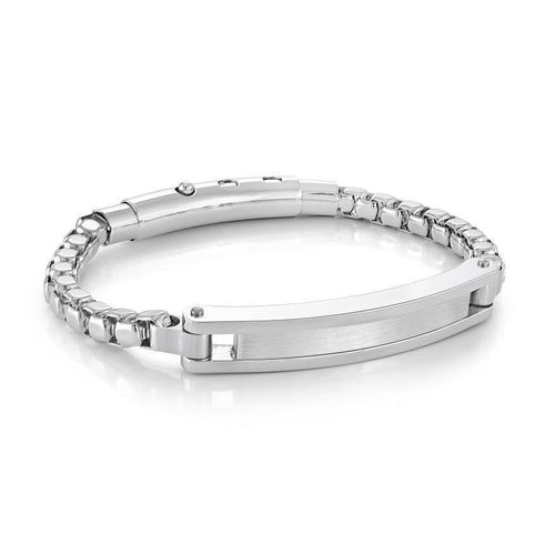 Mens Round Box Link ID Bracelet SMB410 - Fifth Avenue Jewellers
