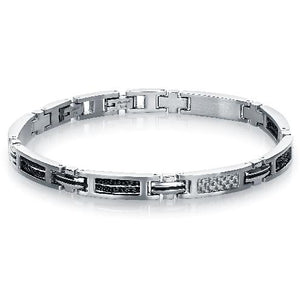 Mens Steel & Black Cable Bracelet SMB209 - Fifth Avenue Jewellers