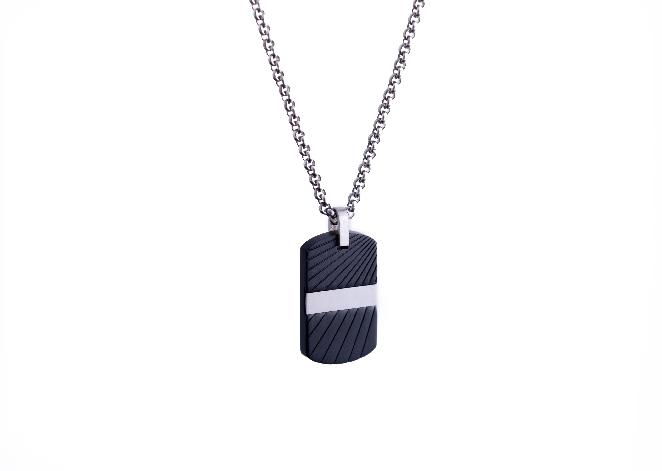 Mens Steel Black Matte Plated Dogtag Necklace SP51 - Fifth Avenue Jewellers