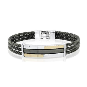 Mens Steel Black Plated Cable Bracelet SMBG39 - Fifth Avenue Jewellers