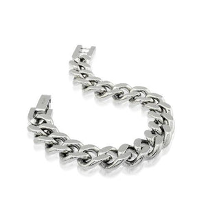 Mens Steel Curb Link Bracelet SMB140 - Fifth Avenue Jewellers
