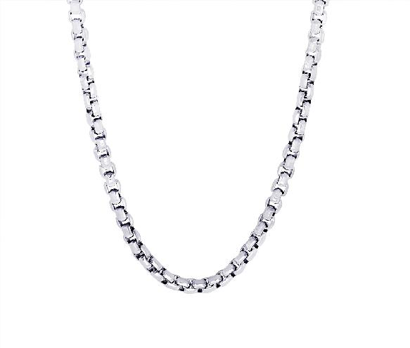 Mens Steel Diamond Cut Box Link Chain SN12 - Fifth Avenue Jewellers