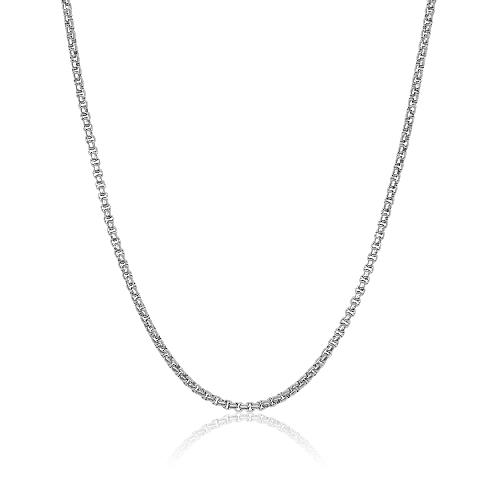 Mens Steel Round Box Link Chain SPN44-22 - Fifth Avenue Jewellers