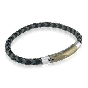 Mens Two Tone Leather Bracelet SLB173 - Fifth Avenue Jewellers